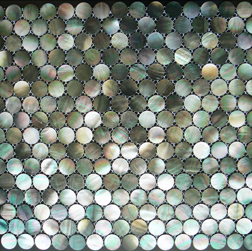 Black Mother of Pearl Natural Circle 20mm Shell Mosaic Sheet, 1 tile